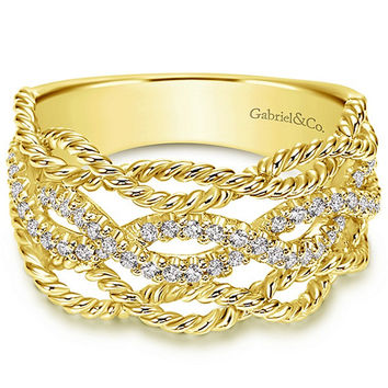 "Gabriel Wide Rope Texture Right Hand ""Twist"" Diamond Ring"