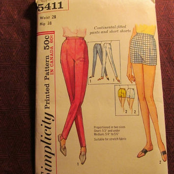 Sale Uncut 1960's Simplicity Sewing Pattern, 5411! Waist 28 Hip 38 Continental-fitted pants & Short Shorts/Skinny Pants/Stretchy Foot Strap