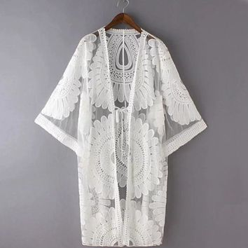 Floral Embroidery Swimwear Cover Up