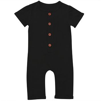 Infant Newborn Baby Boy Girl Clothes Cotton Outfits Romper Cute Black Single Breasted Jumpsuit