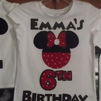 Customized Disney Inspired Minnie Mouse Birthday T-Shirt with Age