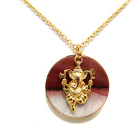 Gold Plated Jasper Bezel Pendant Necklace With Ganesha Lucky Charm Dangle bohochic bohemian jewelry yoga meditation gemstone gift for her