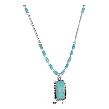 """STERLING SILVER 16"""" LIQUID SILVER WITH RECTANGLE SIMULATED TURQUOISE NECKLACE"""