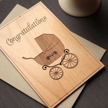 Baby Congratulations Wood Cards - New Baby Congrats Card