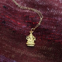 Ganesh + Lotus Necklace in Gold