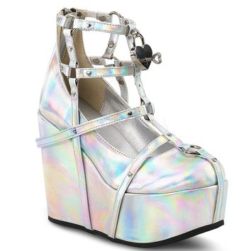 Silver Hologram Vegan Leather  Ankle Festival & Rave Bootie