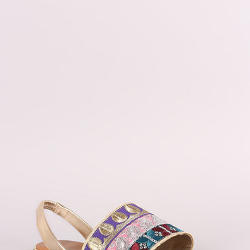 Bamboo Embroidered Sequin Slingback Flat Sandal