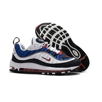 Nike Air Max 98 Black White Yellow Navy Orange Running Shoes