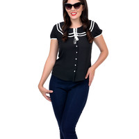 Black Collared Button Up Chiffon Blouse