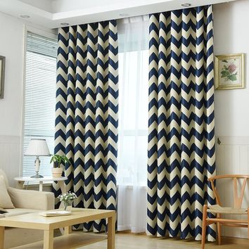 Topfinel Chevron Design Blackout Window Curtain Panel for Children Room Baby Room Modern Living Room Japanese Curtains Fabric