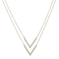 "Polished Silver Tone Chain Link Necklace Featuring 1"" Double Arrows"