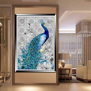 New 5D Diamond Embroidery Painting DIY Blue Peacock Mosaic Stitch Fine Craft Home Decor