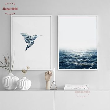 900D Posters And Prints Wall Art Canvas Painting Wall Pictures For Living Room Nordic Seascape Cuadros Decoracion  NOR011