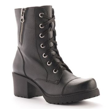 sugar Corah Women's Heeled Combat Boots (Black)