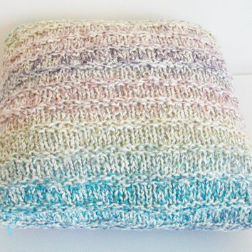 Pillow Cover Striped Multi Color Knit 15X15 Modern Casual Beach Chic
