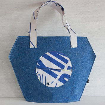 Eco friendly bag, felt tote  bag, recycle materials, reused trap, blue felt.