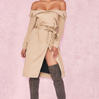 Clothing : Jackets : 'Magdalena' Mustard Off Shoulder Trench Coat