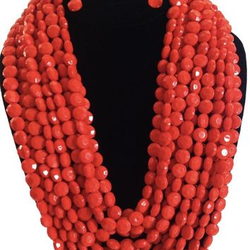 Olivia Coral Beaded Necklace Set