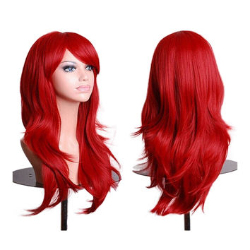 "27.5"" 70cm Long Wavy Curly Cosplay Fashion Mermaid Fantasy Wig heat resistant  bright red"