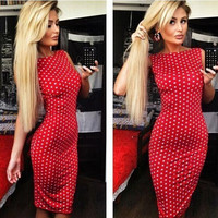 Hot Sale Sexy Women Backless Summer Dress Fashion Dot Printed Sleeveless Knee-length Dress Slim Fit Tight Dress AR024