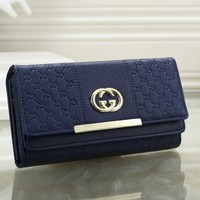 Perfect  Gucci Women Leather Zipper Wallet Purse