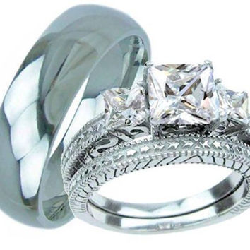 3 Pieces His & Hers Stainless Steel & Titanium Wedding Engagement Ring Set