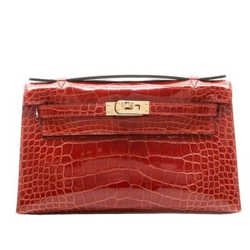 Hermes Brown Alligator Kelly Pochette Bag