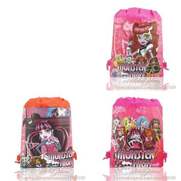 12pcs Monster High Childrens Drawstring Backpack Cartoon Bags Without handle Non-Woven Fabric Bags 35*27cm Girls Party Bags