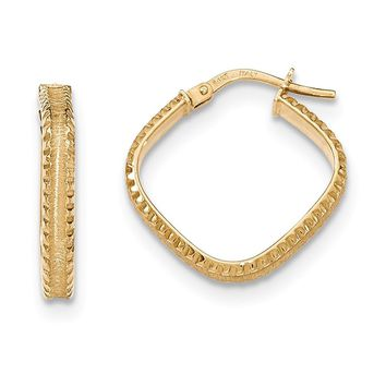 14K Yellow Gold Polished/Satin Ridged Edge Concave Square Hoop Earrings