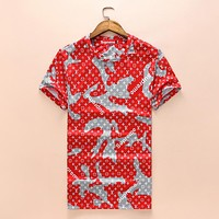 Louis Vuitton LV X Supreme New Popular Women Men Casual Print Short Sleeve T-Shirt Top Red I-A00FS-GJ