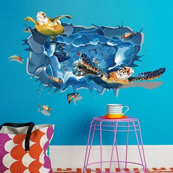 3D Turtle Floor Wall Sticker Removable Mural Decals Vinyl Living Room Decor