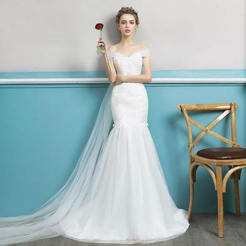 Royal Train Wedding Dress Sweet Mermaid Gown Cut-out Back V-Neck Off the Shoulder Lace Bow Pearls
