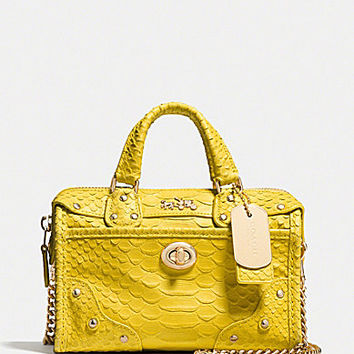 COACH RHYDER SATCHEL 18 IN PYTHON EMBOSSED LEATHER | Dillards.com