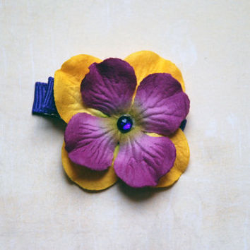 Purple and Yellow Tropical Paper Flower Hair Clip with Gem