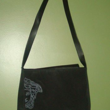 Versace Black Leather Rimmed and Canvas Purse/Bag Orig $480
