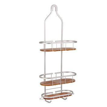 Tia Large Over the Showerhead Rustproof Shower Caddy, Teak Shelves