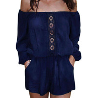 Off-the-shoulder Chiffon Romper In Blue
