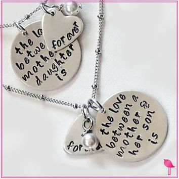 The Love Between a Mother & Daughter/Son is Forever Bling Chicks Necklace
