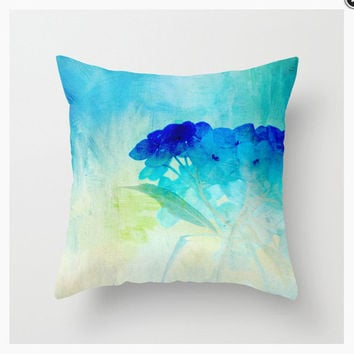 BLUE HYDRANGEAS decorative throw pillow, teal turquoise cobalt decor, scatter cushion, pillow cover, cushion cover home decor