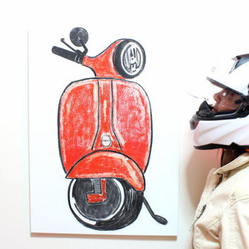 "Choose Your Color, 19""x27"", Big Original Scooter Art Drawing, Personalized Original art, Oil pastel on canvas, Gift for her, Gift for him"
