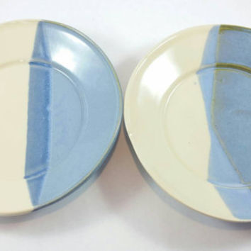 Handmade Pottery Ceramic Plates - handmade snack plates in ceramic pottery stoneware clay with blue and white glaze.