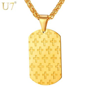 U7 Dog Tag Cross Pendant Necklace For Men/Women Gold Color Stainless Steel Trendy Necklace Christian Jewelry P767