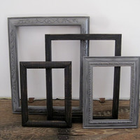 Black and Gray Picture Frame Set Of 4 Rustic Wall Decor 8x10 5x7