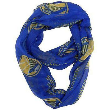NBA Golden State Warriors Sheer Infinity Scarf, One Size, Blue