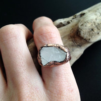 Rose Quartz Ring - Pink Statement Ring - Unique Ring - Raw Stone Ring - Copper Ring - Semiprecious Stone Ring - SIZE 7.5