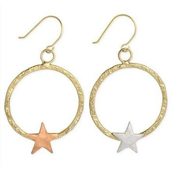 Star Treatment Mixed Metal Hammered Star Earrings