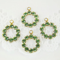 Vintage Peridot Green Austrian Rhinestone Circle Ring Drops Charms - 4