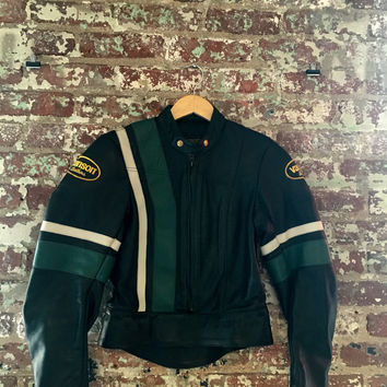 Vintage Vanson Two Peice Racing Suit Jacket, Blk/ Grn