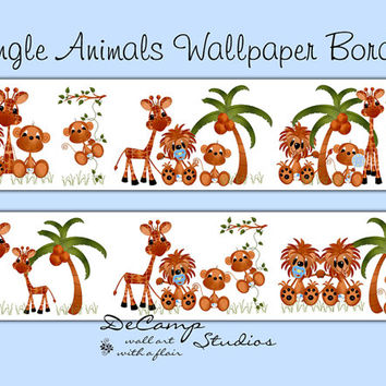 JUNGLE ANIMALS WALLPAPER Wall Border Decals Baby Boy Nursery Decor Kids Safari Room Childrens Zoo Bedroom Monkey Giraffe Lion Art Stickers