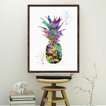 Nordic Colorful Pineapple Unframed Fashionable Colored Pineapple Fruit Inkjet Oil Canvas Painting Ink Painting Poster Wall Art